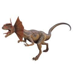 Life Size Brown Dilophosaurus  Statue
