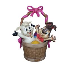 Easter Basket with Bunny and Lamb