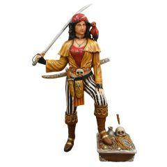Pirate Lady With Treasure Box Statue