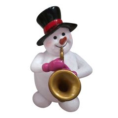 Snowman With Saxophone Statue