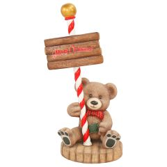Teddy Bear With merry Christmas Sign Statue