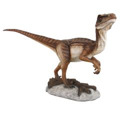 Life Size Velociraptor Statue With Mouth Closed