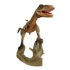 Life Size Velociraptor Statue With Mouth Open